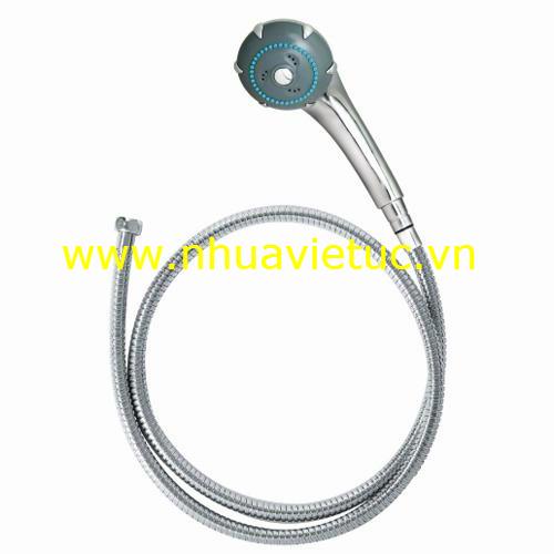 Bộ vòi sen 3 chức năng (bát chân mạ Cr-Ni, dây Inox) - T123-S