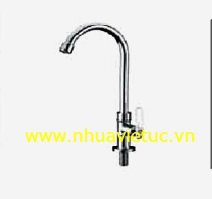 Vòi chậu đơn đứng mạ Cr-Ni ống Inox - T163-B
